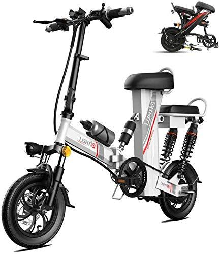 Bicicletta Elettrica, Bici elettrica 12  Wheel Removibile 48V 350W 30Ah Impermeabile e Antipolvere Batteria al Litio della Batteria con Telecomando,Bicicletta (Color : Silver, Size : Range:300km)