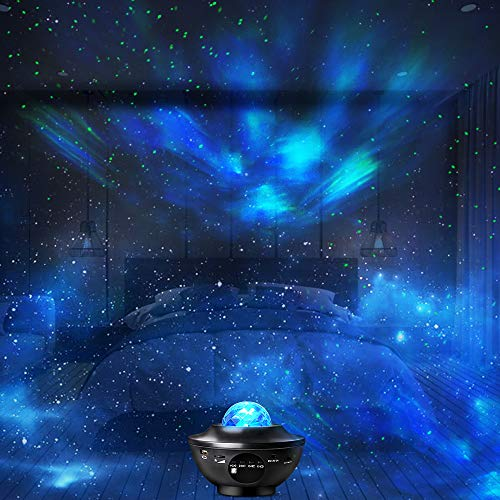 Star Projector, Galaxy Projector with Remote Control, Eicaus 3 in 1 Night Light Projector with LED Nebula Cloud/Moving Ocean Wave for Kid Baby, Built-in Music Speaker, Voice Control (Black)