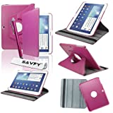 SAVFY® Housse Etui Luxe Cuir Rotatif pour Samsung Galaxy Tab 3 10.1' + STYLET + FILM D'ECRAN...