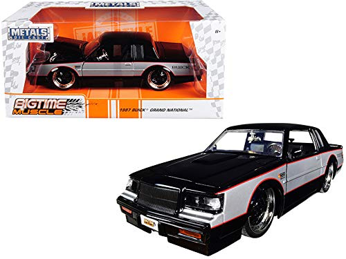 StarSun Depot New 1987 Buick Grand National Black and Silver Big Time Muscle 1/24 Diecast Model Car by Jada