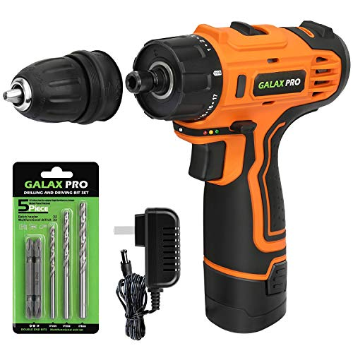 """GALAX PRO DC-12V 3/8"""" Cordless Impact Drill Driver Tool Kit with Battery and Charger, LED Work Light, 17+1 Torque Setting, Max Torque(25N.m)"""