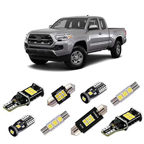 iBrightstar Super Bright Canbus LED Bulbs Package Kit fit for Toyota Tacoma 2005-2019 Interior Map Dome Lights + Vanity Mirror Lights + License Plate Lights + Back Up Reverse Lights, Xenon White