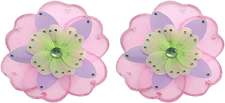 Hanging Flower Small 6 Pink Purple Green Triple Layered Mesh Nylon Flowers Decorations Decorate Baby Nursery Bedroom Girls Room Ceiling Wall Decor Wedding Birthday Party Baby Shower Kid Child DIY