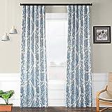 HPD Half Price Drapes BOCH-KC16072-84 Blackout Room Darkening Curtain (1 Panel), 50 X 84, Tea Time China Blue