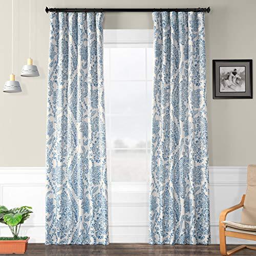 HPD Half Price Drapes BOCH-KC16072-96 Blackout Room Darkening Curtain (1 Panel), 50 X 96, Tea Time China Blue