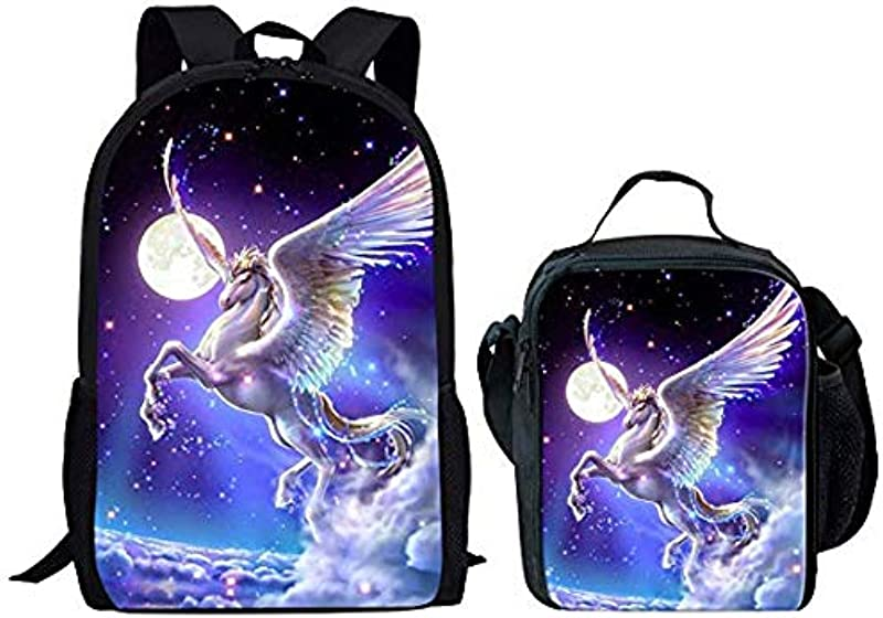 Coloranimal 2 Piece School Bagpack With Thermal Insulated Lunch Tote Bag Funny Galaxy Horse Design Shoulder Knapsacks