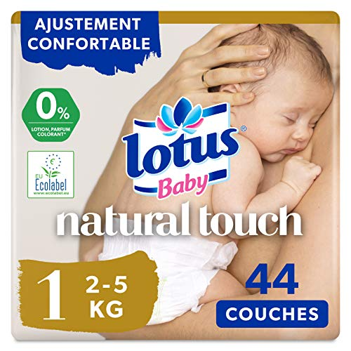 Paquete de 44 pañales pañales Lotus Baby Natural Touch talla 1