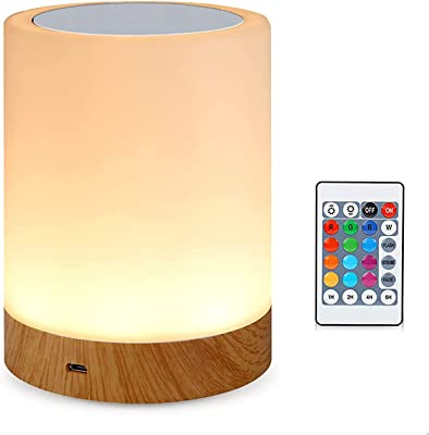 Amouhom LED Bedside Lamp with Remote Control, Dimmable Table Lamp for Bedroom Living Room, 16 Colours, Portable Night Light, Warm White Light and Colour Changing Gifts for Children/Adults
