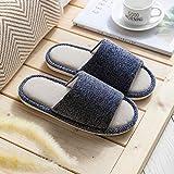 Zapatillas Casa Hombre Mujer Mntrerm, Zapatillas Casuales para Hombre, A Rayas, De Color Sólido, Cómodas, Zapatillas De Casa, De Algodón Y De Suelo para Hombre, 40 Azul