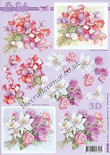 Sweet Pea Bouquet of Flowers Le Suh 3d Decoupage Sheet