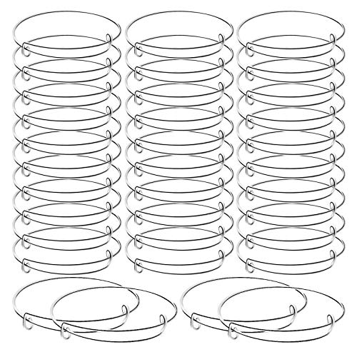 30 Pieces Expandable Bangle Bracelets Adjustable Wire Blank Bangles Metal Bracelets for DIY Jewelry Making, Silver Color