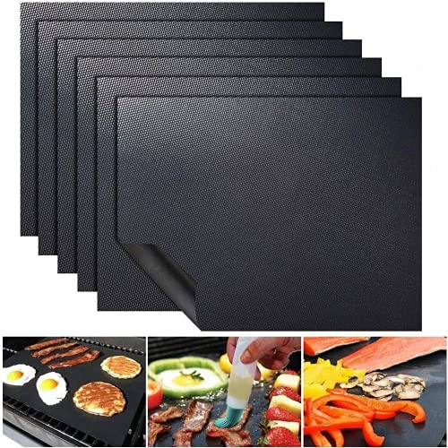 UNIVERSESTAR Grill Mat - Set of 5 Heavy Duty BBQ Grilling Mats, Non Stick, Reusable, Easy to Clean Baking Matte - for Electric Grill Gas Charcoal Outdoor Barbecue (15.75 X 13 Inch, Black)