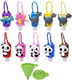 Crenics 10 Pack Portable Hand Sanitizer Travel Bottles with Cartoon Silicone Keychain Holder, 1oz/30ml Reusable Empty Plastic Flip Cap Containers for Kids (Dinosaur Panda)