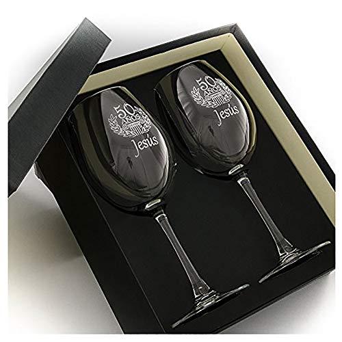 Calledelregalo Regalo Personalizable para cumpleaños: Copas de Vino grabadas con su Nombre y Edad (Copas de Vino cumpleaños)