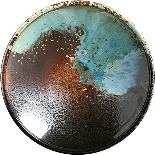 SDFB Plato de cerámica Hecho a Mano Creativo, bistec/Pasta/Ensalada/Desayuno/Plato de Verduras, Arte Circular, Serie de Piedra Colorida, Textura Rica Segura para microondas, Degradado Azul