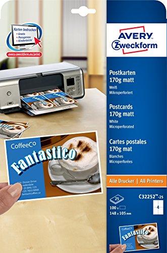 AVERY Zweckform C32252-25 Postkarten (blanko, beidseitig bedruckbar, matt weiß, extra feine Mikroperforation, 25 Blatt) zum Selbstbedrucken auf allen Druckern