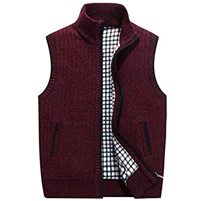 Msmsse Men's Knitted Vest Knit Sweater Vest Red M from