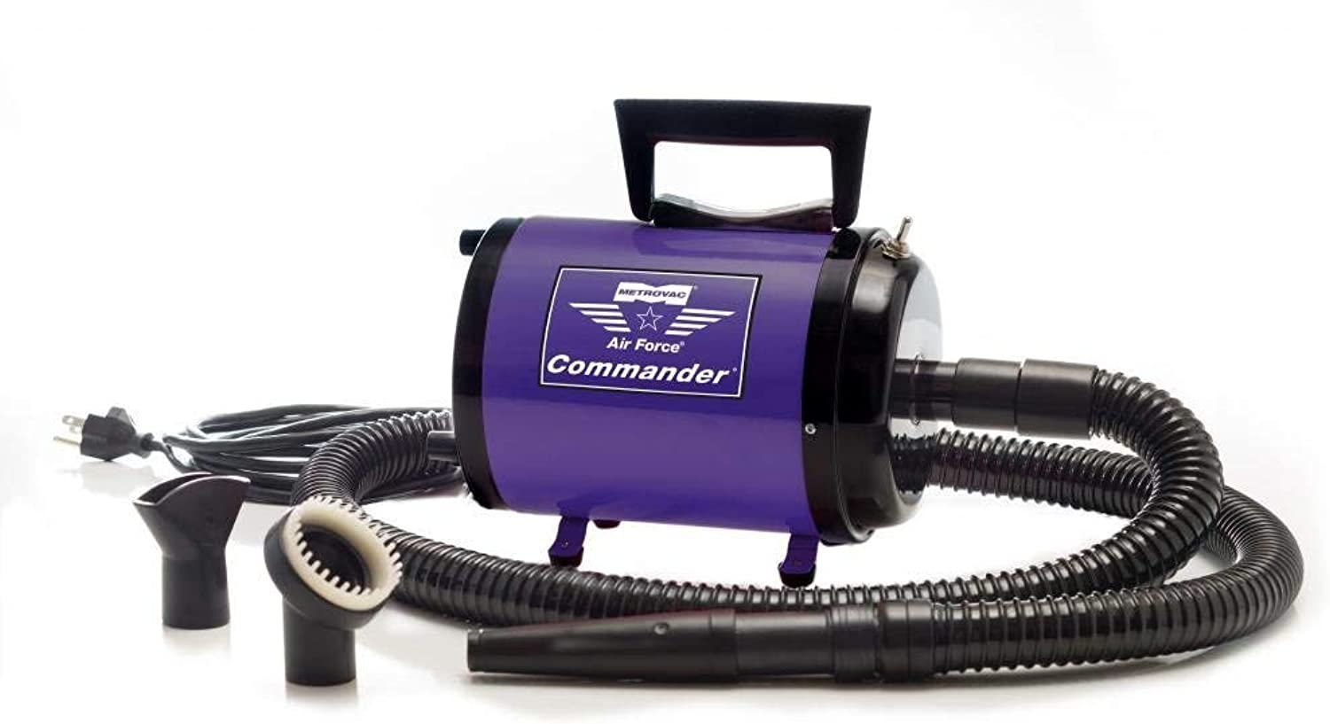 Dog Dryer Metrovac's Air Force Commander Professional Dog Grooming Pet Dryer – Portable Hair Dryer, 2 Speed 1.70HP Motor – Ideal for Heavy Coat Dogs – 5 Unique colors (Purple)