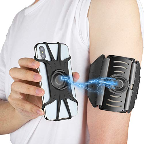 VUP Detachable Running Armband, 360 Rotatable Cell Phone Holder for iPhone Xs Max XR X 6 6S 7 8 Plus, Galaxy S9 S10 Note 9, Pixel 2/3 XL 3a, OnePlus 6T Workout Exercise Sport Fitness Jogging Arm Band