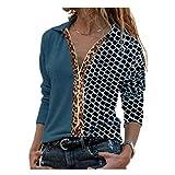 Leopard Plaid Panel cremallera superior mujer OL oficina camiseta señoras calle cuello en V manga larga camiseta más tamaño - - Large