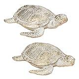 Home Collection Set de 2 Tortugas Surtidas en Blanco y Dorado DE 26 cm y Resina Sintética Figura Decorativa Decoracion Hogar Jardín Figuras Animales