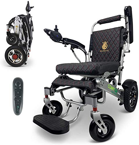 "2020 Best Limited Edition Remote Control Foldable Electric Wheelchair Mobility Aid Lightweight Motorized Power Wheelchairs (19.5"" Wide) (Silver-Black)"