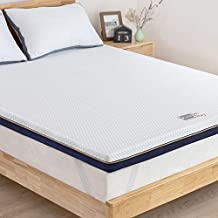 BedStory 3 Inch Memory Foam Mattress Topper Full Pressure-Relieving Improve Sleep Quality Back Pain Relief Premium Gel-Infused Ventilated Mattress Pad Removable Cover CertiPUR-US Certified