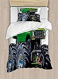 ABAKUHAUS Autos Funda Nórdica, Camioneta Monstruo Gigante con Grandes Neumáticos Suspensión Rueda Extrema Estampa, 1 Funda para Almohada Set Decorativo de 2 Piezas, 264 x 220 cm, Verde