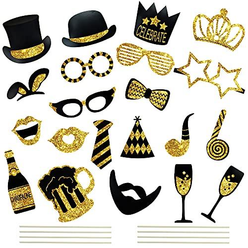 22Pcs Photo Booth Props para Decoracion Fiesta Bodas Photocall Gafas Arcos Sombreros...