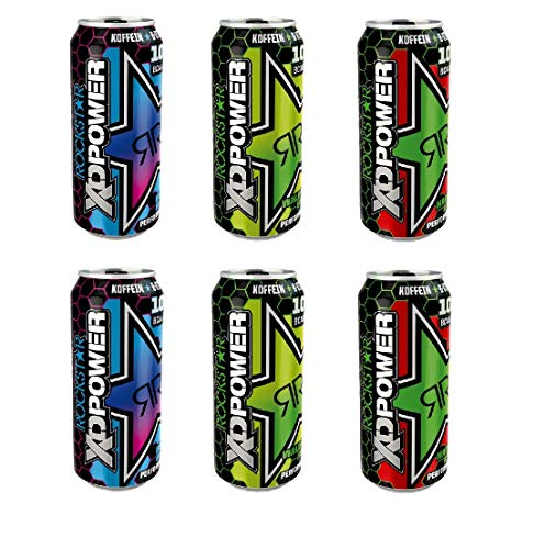 6 Dosen Rockstar XD Power 2 x Waldmeister Boost / 2 x Berry Blast / 2 x Hardcore Apple a 500ml inc.1.50€ EINWEG Pfand Neu