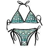 Bikini Trajes de baño Tribal Azteca Elementos geométricos Triages Cuadrados Primitive Pixel Art Conjuntos de Bikini Traje de baño de Playa Traje de baño