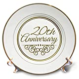 3dRose cp_154462_1 20th Gold Text for Celebrating Wedding Anniversaries 20 Years Married Together Porcelain Plate, 8-Inch