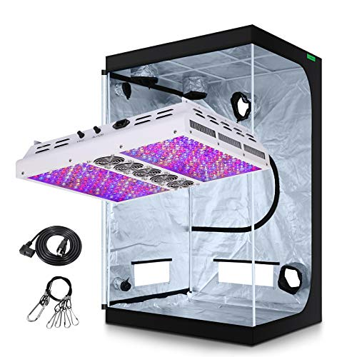 VIPARSPECTRA Timer Control PAR1200 1200W LED Grow Light with 5'x5' Mylar Hydroponic Grow Tent Complete Kit for Indoor Plant Growing