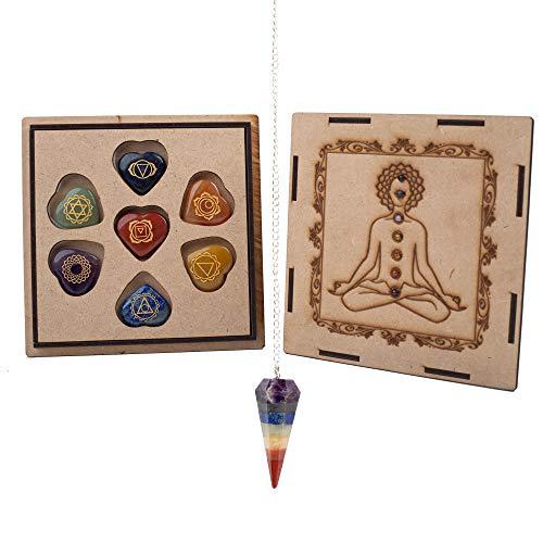 J&K Ink. Chakra Stones Set - Crystals and Healing Stones, Meditation Stones, 7 Chakra Stones, Energy Crystals, Reiki Supplies, Chakra Crystals, Healing Stones Kit and Pendulum (Heart Shaped Chakra)