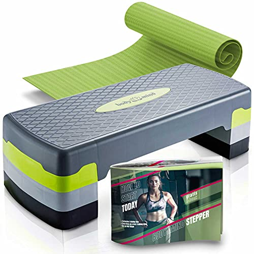 Body & Mind® Aerobic Step Board Elite 3-Step Step Bench con alfombra antideslizante gratis