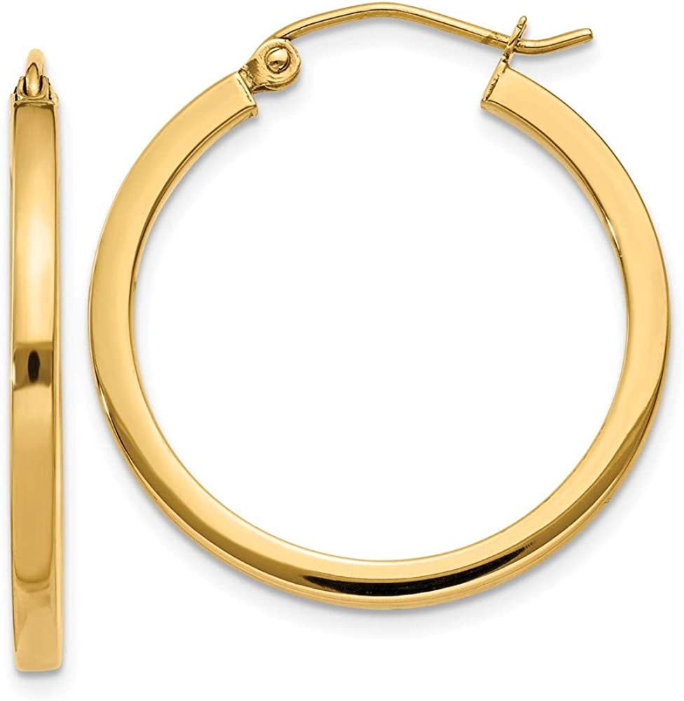 Max 49% OFF 14k Yellow Gold 2mm Earrings Square Tube In a popularity Hoop