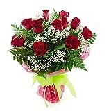 Ramo de 12 rosas rojas naturales (Freedom - calidad premium)