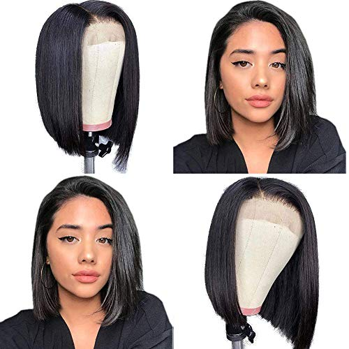 Straight Human Hair Wigs for Black Women Short Bob Lace Front Wigs Human Hair Pre Plucked 4x4 Lace Closure Wig 150% Density Natural Color 10 inch