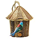 yofit Outside Wooden Bird House, Ventilation Hanging Bird House for Small Bird Chickadees Sparrows