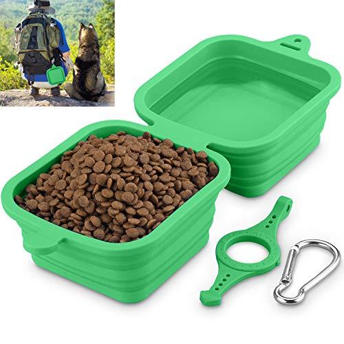 Hundenapf Faltbar, Fressnapf für Hund und Katzen Reisenäpfe Tragbar 2 in 1 Wassernapf und Futternapf 1240ml/40oz(Grün)