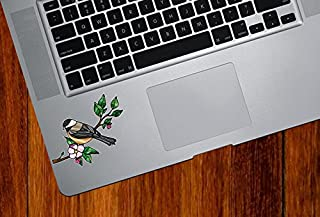 Bird - Chickadee with Apple Blossom - Stained Glass Style Opaque Vinyl Laptop Decal - Copyright 2015 Yadda-Yadda Design Co. (SIZE CHOICE) (SM 3