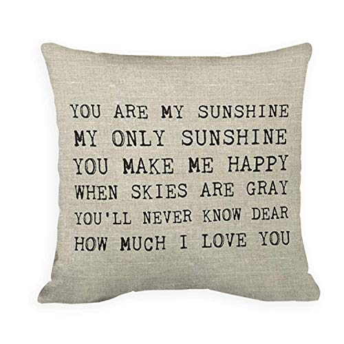 SPXUBZ Sunshine You are My Sunshine Accent Pillow Cotton Polyesterwith Hidden Zipper Decorative Home Decor Square Indoor/Outdoor Throw Pillowcase Size: 20X20 Inch(Two Sides)