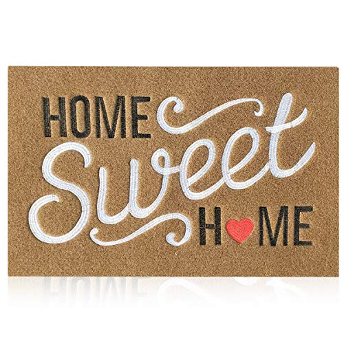 AAZZKANG Felpudo marrón para interiores y exteriores, con parte trasera de goma antideslizante, fácil de limpiar, resistente