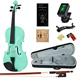 Amdini Solid Spruce 1/2 Violin Set Varnish Fiddle AC100 Half Size for Adults Beginners Students with Case, Tuner, Manual, Bow, Shoulder Rest, Extra Strings (Mintgreen)