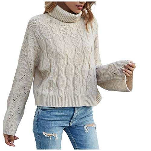 oiry Fashion Women Casual O-Neck Turtleneck Solid Color Flare Sleeve Pullover Sweater Top White