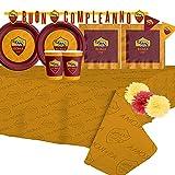 Kit Compleanno per 40 Persone N°59 Addobbi Compleanno AS Roma giallorossi lupa Tifosi Olimpico Piatti Bicchieri tovaglioli tovaglia