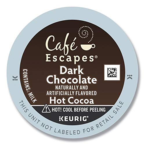 Café Escapes Dark Chocolate Hot Cocoa K-Cups for Keurig Brewers, 24 pack, 24-count