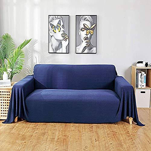 JBNJV Funda de sofá de Jacquard de Punto, Funda de sofá Universal de Color sólido, Fundas de sofá de 1 Pieza Protector de Muebles para Sala de Estar-Azul.180x130cm (71x51 Pulgadas)