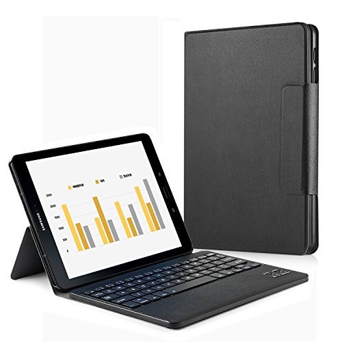 Samsung Galaxy Tab S3 9.7 Keyboard Case, HowiseAcc Case Cover for Galaxy Tab S3 9.7 SM-T820 / T825 Tablet with Detachable Wireless Bluetooth Keyboard - Black