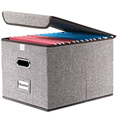 """[VERSATILE FILE BOX FOR LETTER SIZE FILES] Organize all your paperwork, letters, folders and hanging files in style with the portable file cabinet storage boxes from Prandom (ca. 15x12.2x10.75"""") [COLLAPSIBLE FILING BOX] The storage container collapse..."""